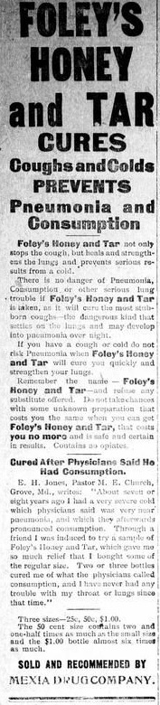 Ad for Foley's Honey and Tar.  From the State Herald (Mexia, Tex.), Vol. 6, No. 51, Ed. 1 December 21, 1905.