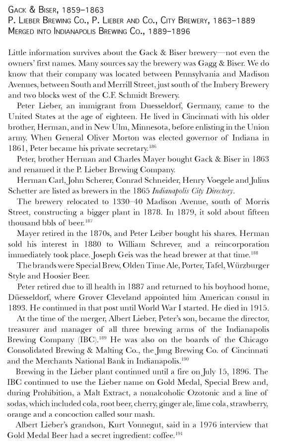 Hoosier Beer: Tapping Into Indiana Brewing History by Bob Ostrander and Derrick Morris, 2011, pg 115.