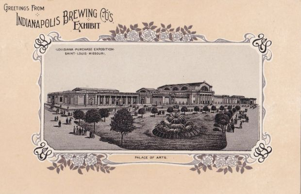 1904 St. Louis Worlds Fair Postcard-Indianapolis Brewing Co. Exhibit, Palace of arts