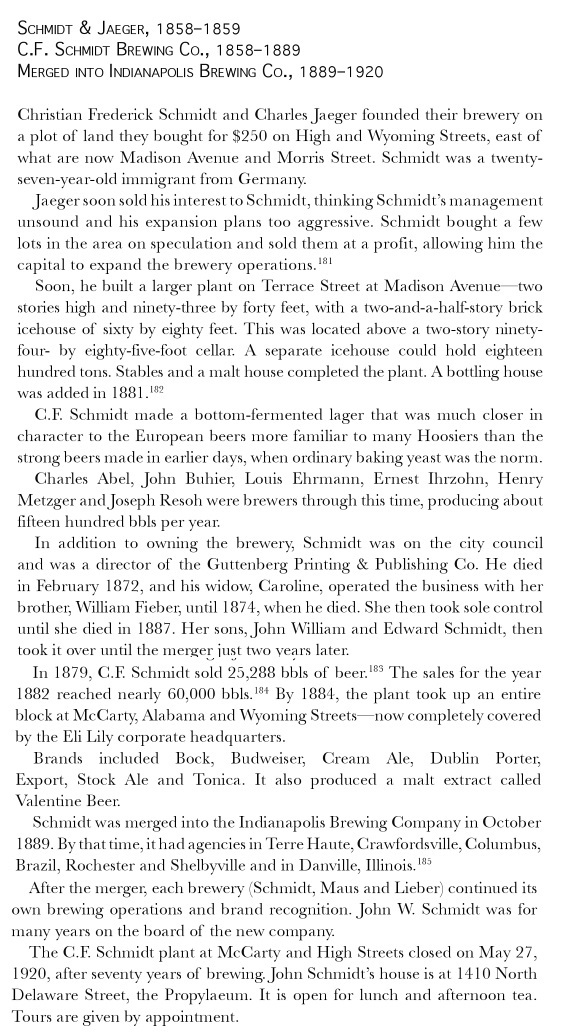 Hoosier Beer: Tapping Into Indiana Brewing History by Bob Ostrander and Derrick Morris, 2011, pg 114.