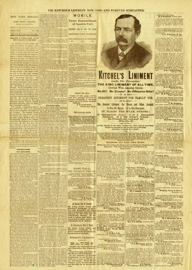 Kitchel's Liniment Paper - Published by S. B. Kitchel Company, Coldwater, Michigan - 1890