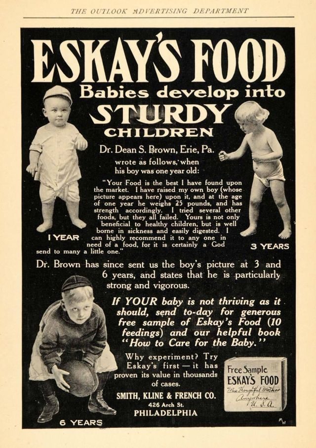 1907 Ad for Eskays Food