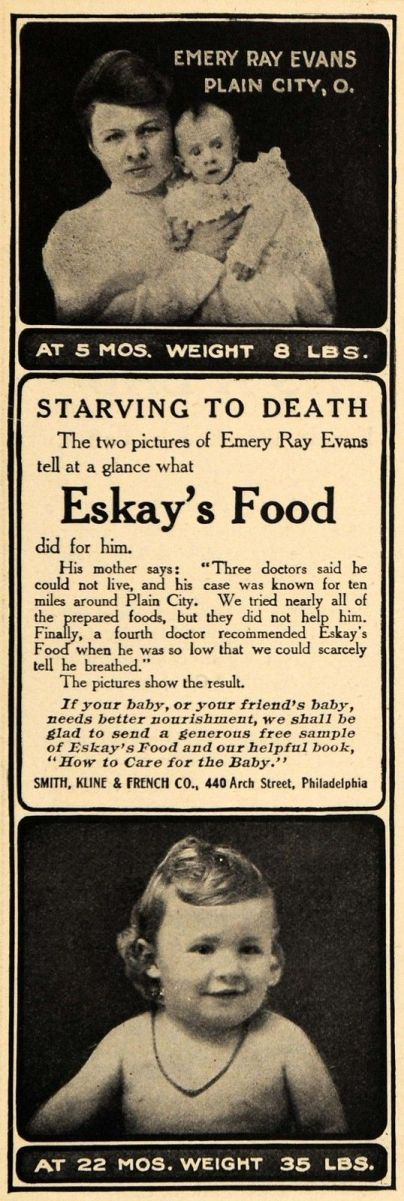 1908 Ad Emery Ray Evans Plain City Eskays Food
