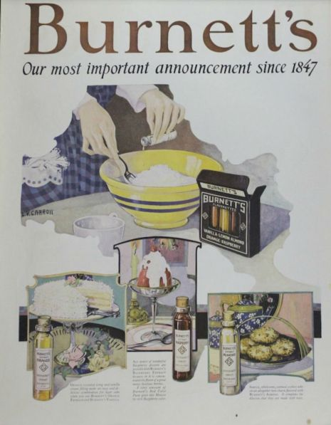 Burnett's Extracts Ad, 1922