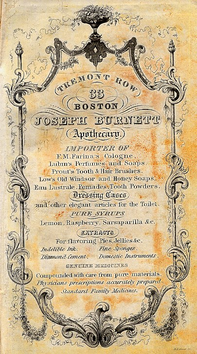 1850 ad for Joseph Burnett Company