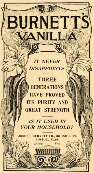 Joseph Burnett's Vanilla Extract Ad, 1900