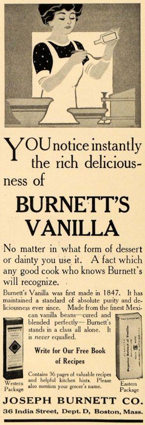 Joseph Burnett Vanilla Extract Ad, 1911
