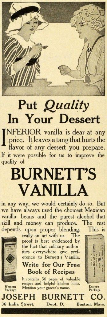 Joseph Burnett Mexican Vanilla Extract Ad, 1911