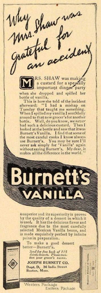 Joseph Burnett's Vanilla Extract Ad, 1912