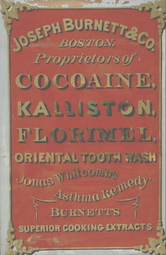Joseph Burnett & Co. Framed sign, undated