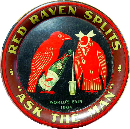 Red Raven Splits advertising tray, from 1904 St. Louis World's Fair