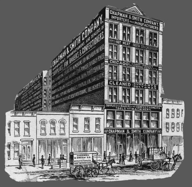 A drawing of the building for the Chapman & Smith Co. at 185-187 W. Randolph St., Chicago, IL. They moved at some point in or before 1910, to 1017 W. Washington Blvd., Chicago, IL and eventually to the suburb of Melrose Park.
