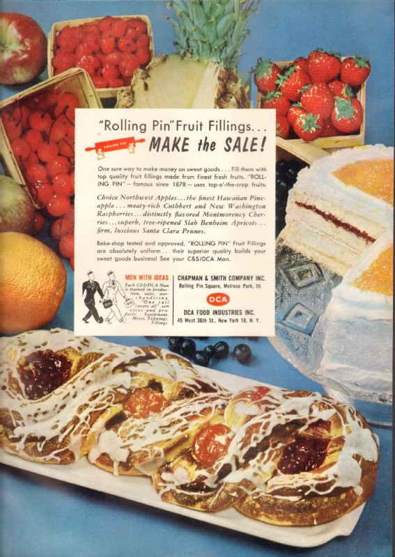 Original commercial bakery trade magazine ad for CHAPMAN & SMITH COMPANY, INC in Melrose Park, IL. Rolling Pin fruit fillings make the sales! Make money on sweet goods. Fill them with top quality fruit filling made from the finest fresh fruits.