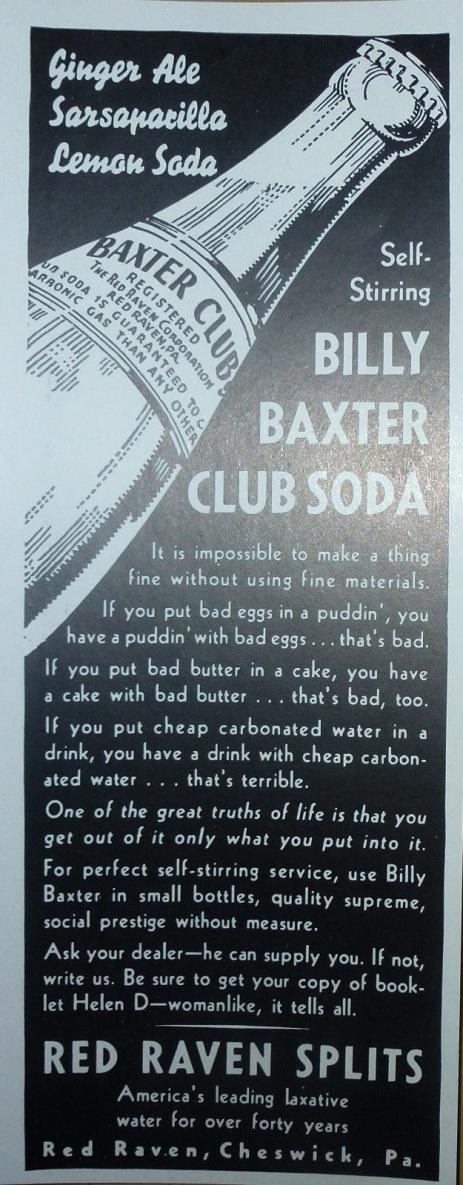 Ad for Billy Baxter Club Soda, 1936