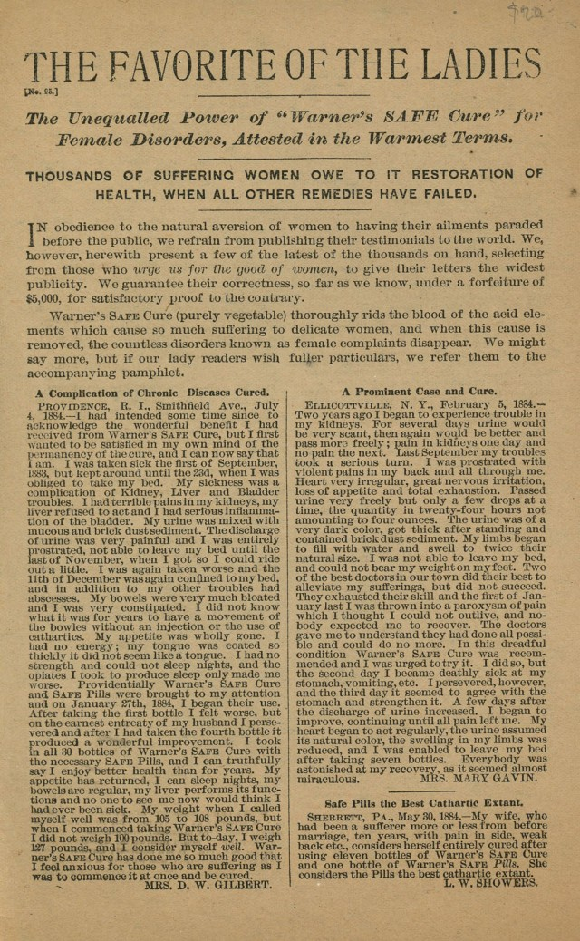 1884 Two page pamphlet for Warner's vegetable based cure for