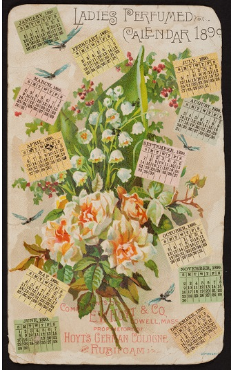 Calendar for 1890. The card describes the perfume and the teeth cleaner. The products are for sale by Washington Chase, dry goods, groceries and drugs, in Newcomb, New York.