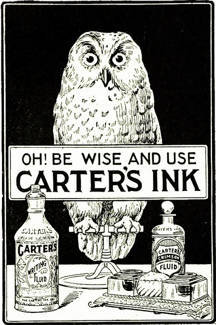 1904 Carter's Writing Fluid ad featuring an owl