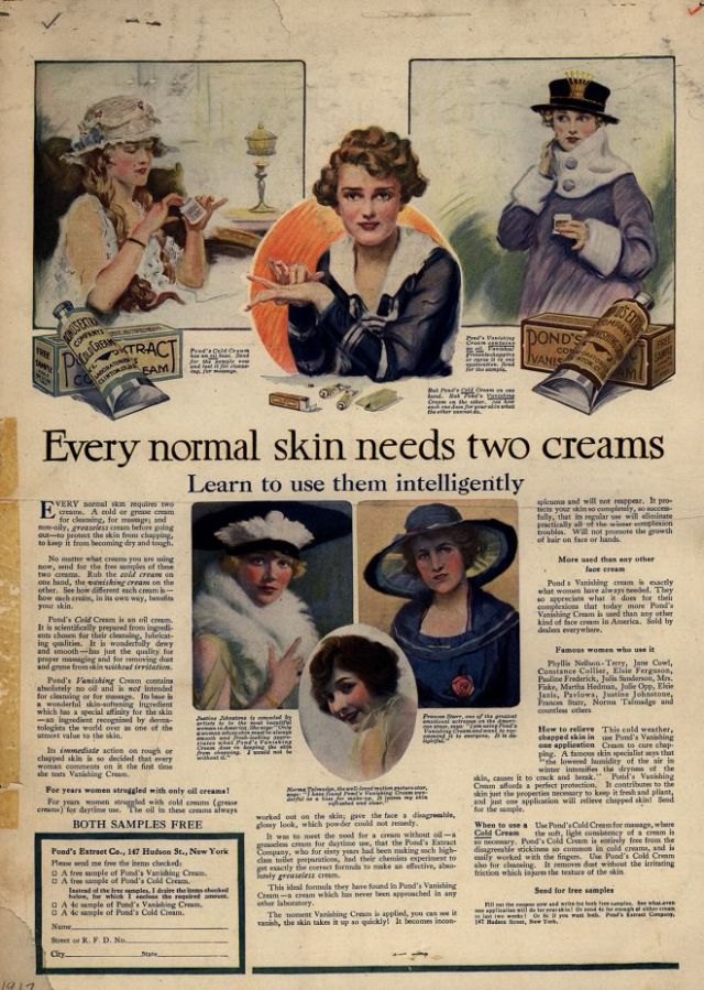 1917 Ad for Pond's Cold Cream and Pond's Vanishing Cream