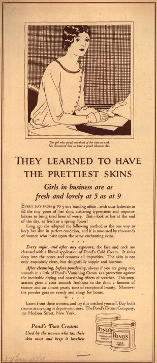 1924 ad for Pond's Cold Cream and Pond's Vanishing Cream