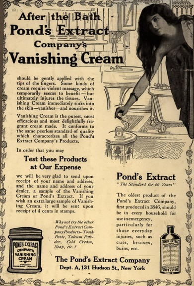 Pond's print advertisement for vanishing cream, 1910