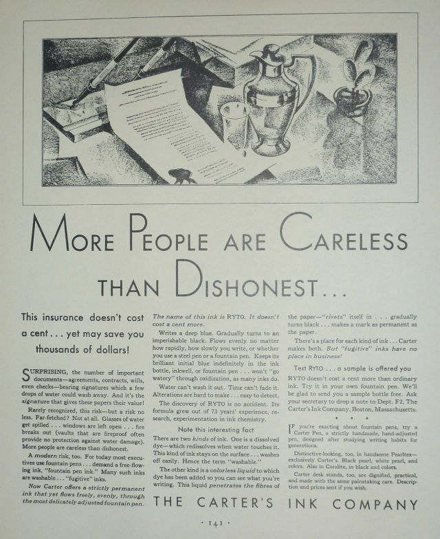 1931 Ad for Carter's Ink