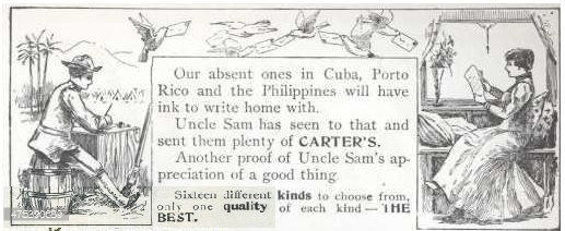 1898 Carter's Ink Print Ad, referencing the Spanish–American War