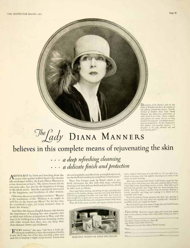 1925 ad for Pond's Extract Company featuring Lady Diana Manners