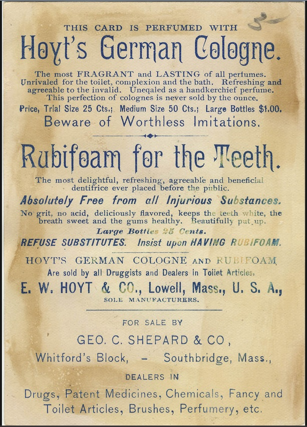 "BACK: This apothecary card for Rubifoam for the Teeth displays an illustration of three young ladies posing for a picture. ""Bush & Co., 56 Front St., Worcester, Mass"" stamped on the back., 1889"
