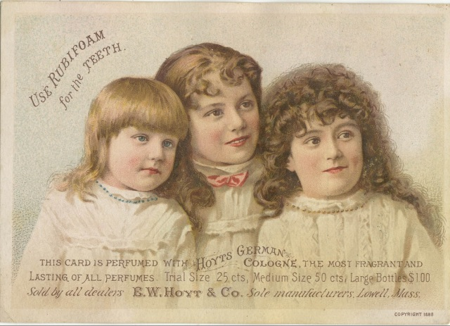 "FRONT: This apothecary card for Rubifoam for the Teeth displays an illustration of three young ladies posing for a picture. ""Bush & Co., 56 Front St., Worcester, Mass"" stamped on the back., 1889"