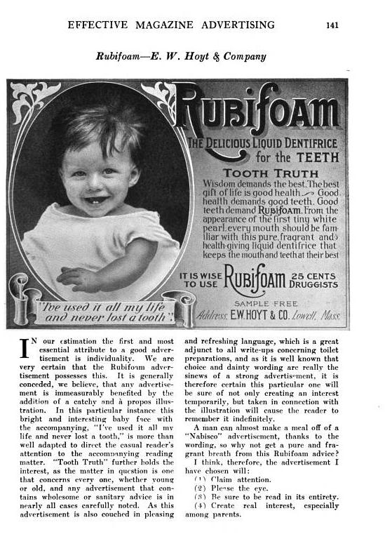 From Effective Magazine Advertising: 508 Essays about 111 Advertisements, Francis Bellamy, M. Kennerley, 1909