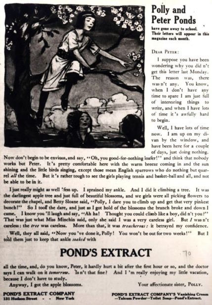 Ad for Pond's Extract, featuring Polly, date unknown