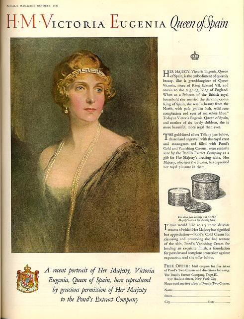 1926 ad for Pond's Cold Cream, featuring Queen Victoria Eugenia of Spain