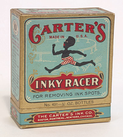 "Despite the caricature-like image of a black athlete on its box cover, this product is in fact an ""ink eraser"" consisting of two glass vials once filled with ink-removing solution. The 19th Century production, manufactured by Carter's Ink Company, comes with its original stoppered vials (still containing some crystallized ink solution) and original instructions (completely intact)"
