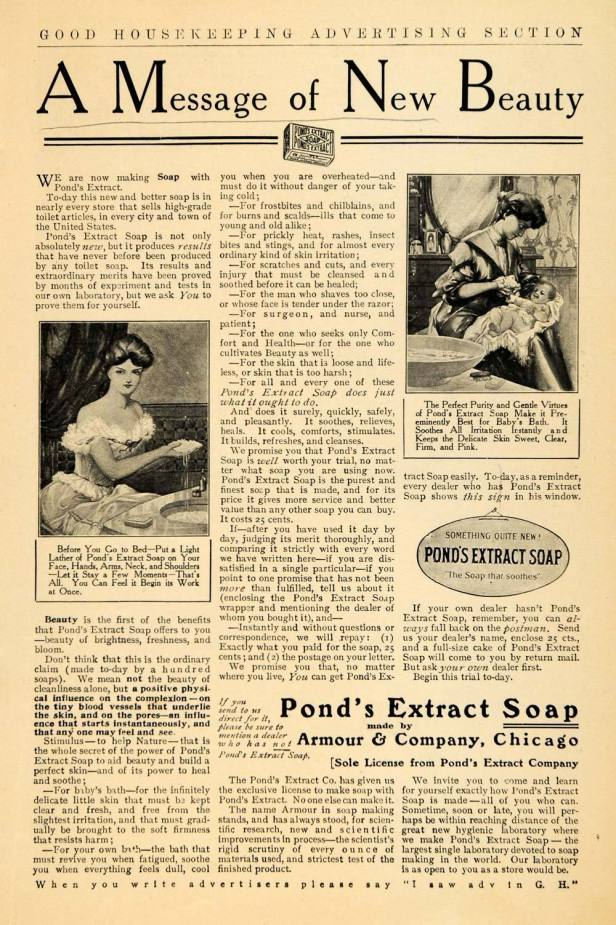 1906 Ad Pond's Extract Soap from Armour & Co. Chicago
