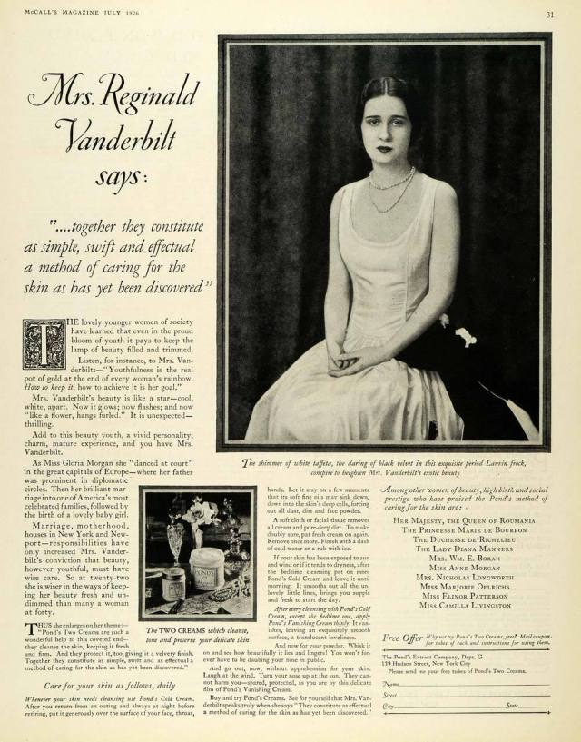 1926 ad for The Pond's Extract Company featuring Mrs. Reginald Vanderbilt