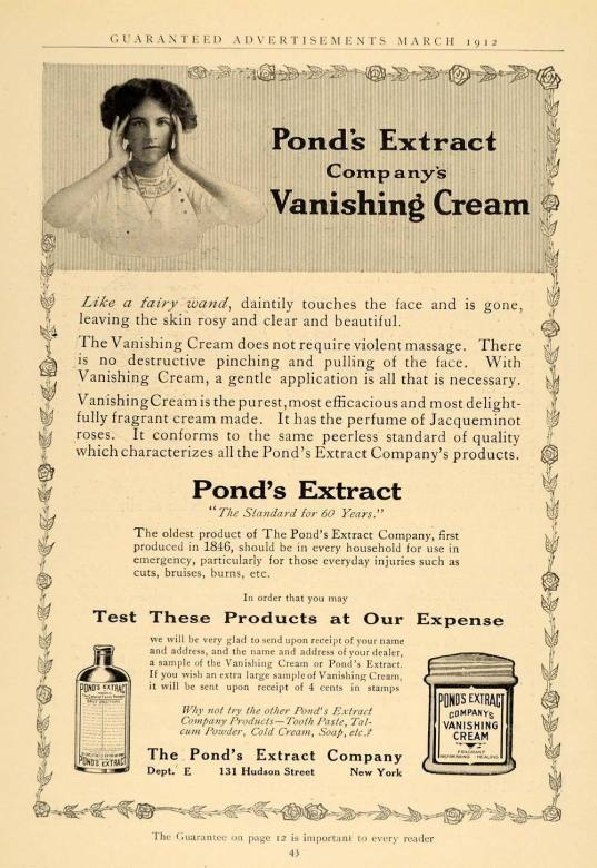 1912 Ad for Pond's Extract Vanishing Cream Healing Remedy