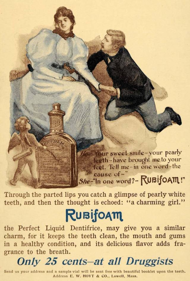 Original 1896 color print ad for the Rubifoam, a liquid dentifrice from E. W. Hoyt & Company located in Lowell, Massachusetts.