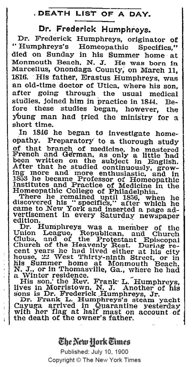 humphreys death NYTimes 1900